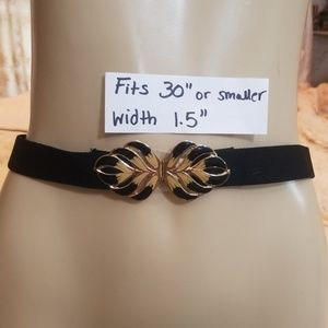 Accessories - Vintage 80's black stretch belt w/ butterfly clasp